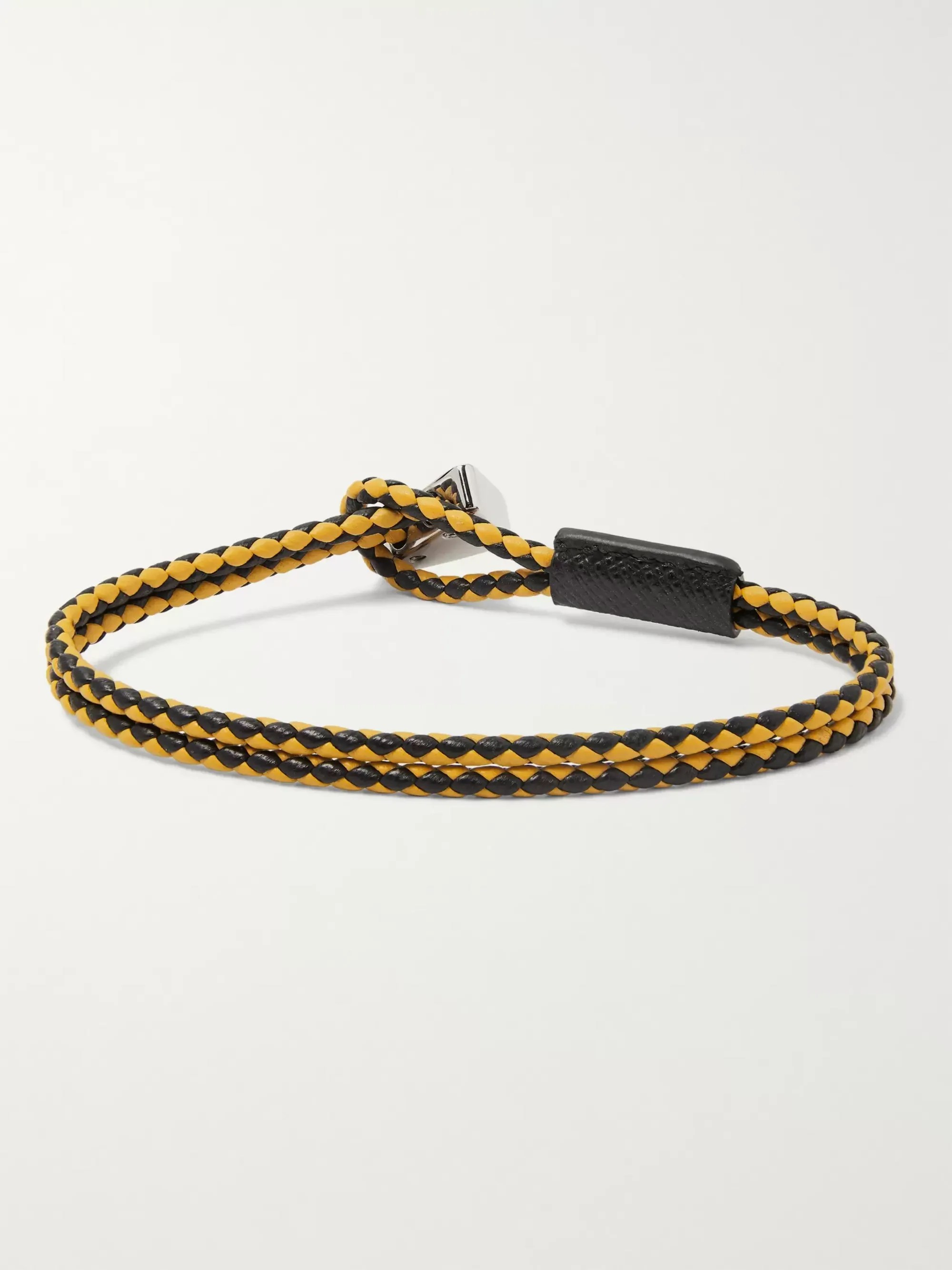 Le Meilleur Yellow Woven Leather Bracelet Prada Mr Porter Ce Mois Ci