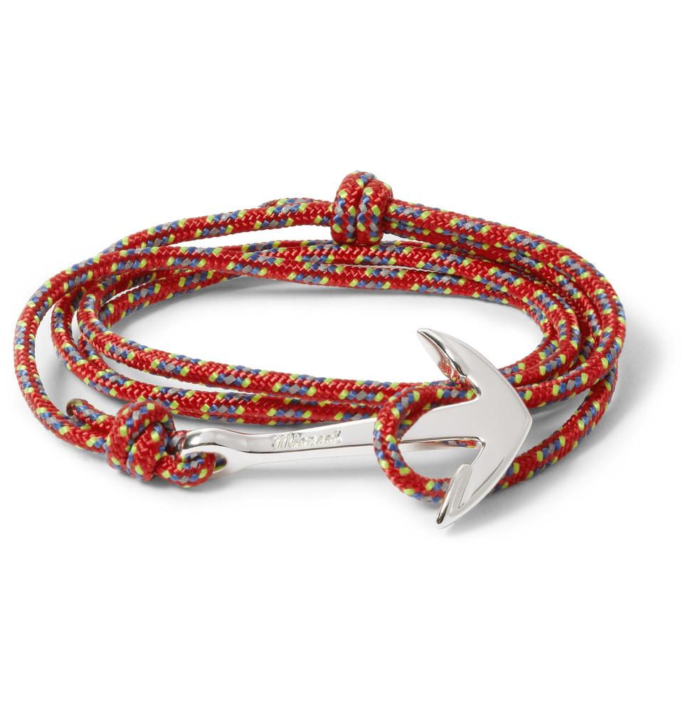 Le Meilleur Miansai Rope And Silver Plated Anchor Bracelet In Red For Ce Mois Ci