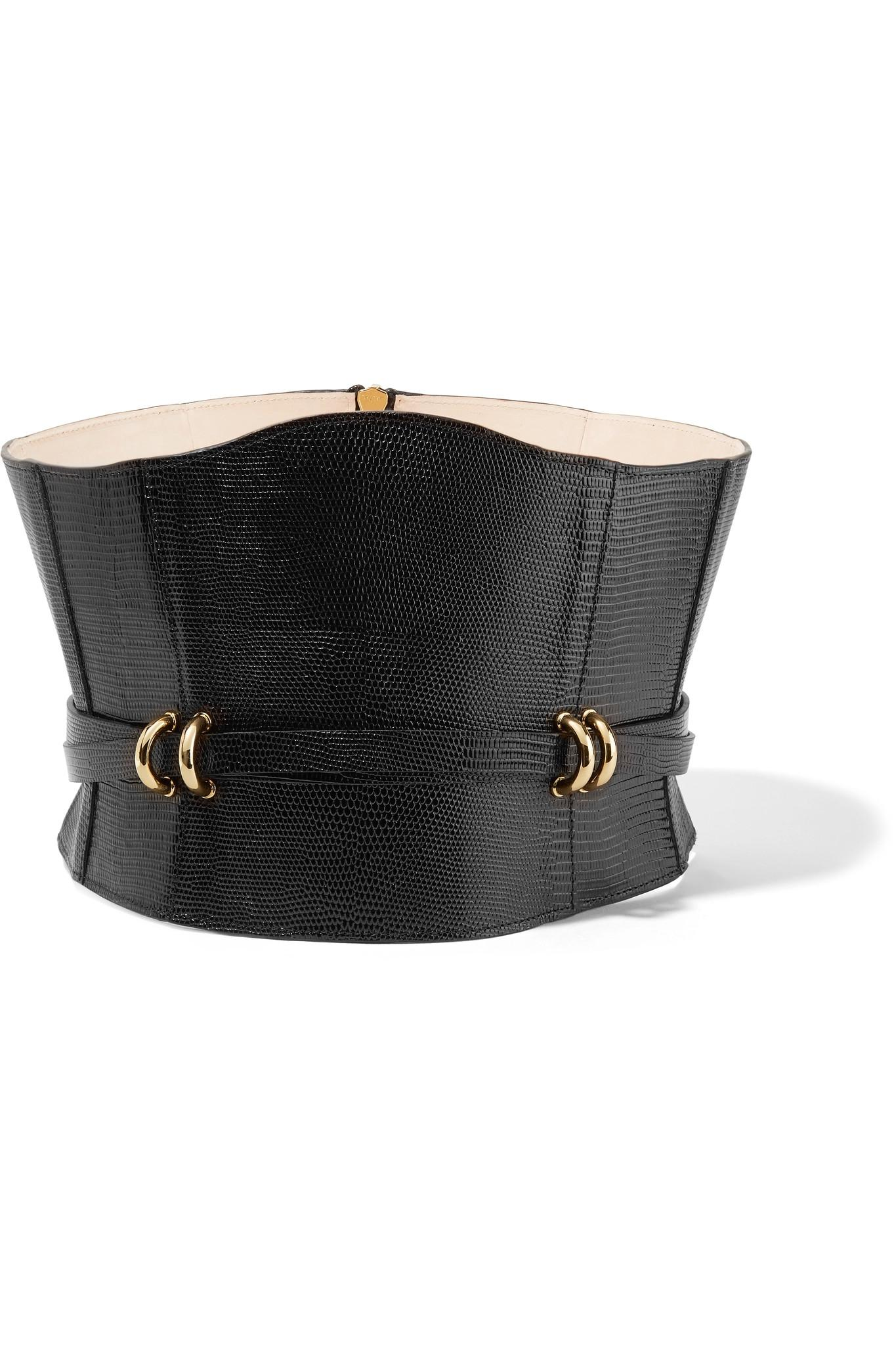 Le Meilleur Balmain Embellished Croc Effect Leather Waist Belt In Ce Mois Ci
