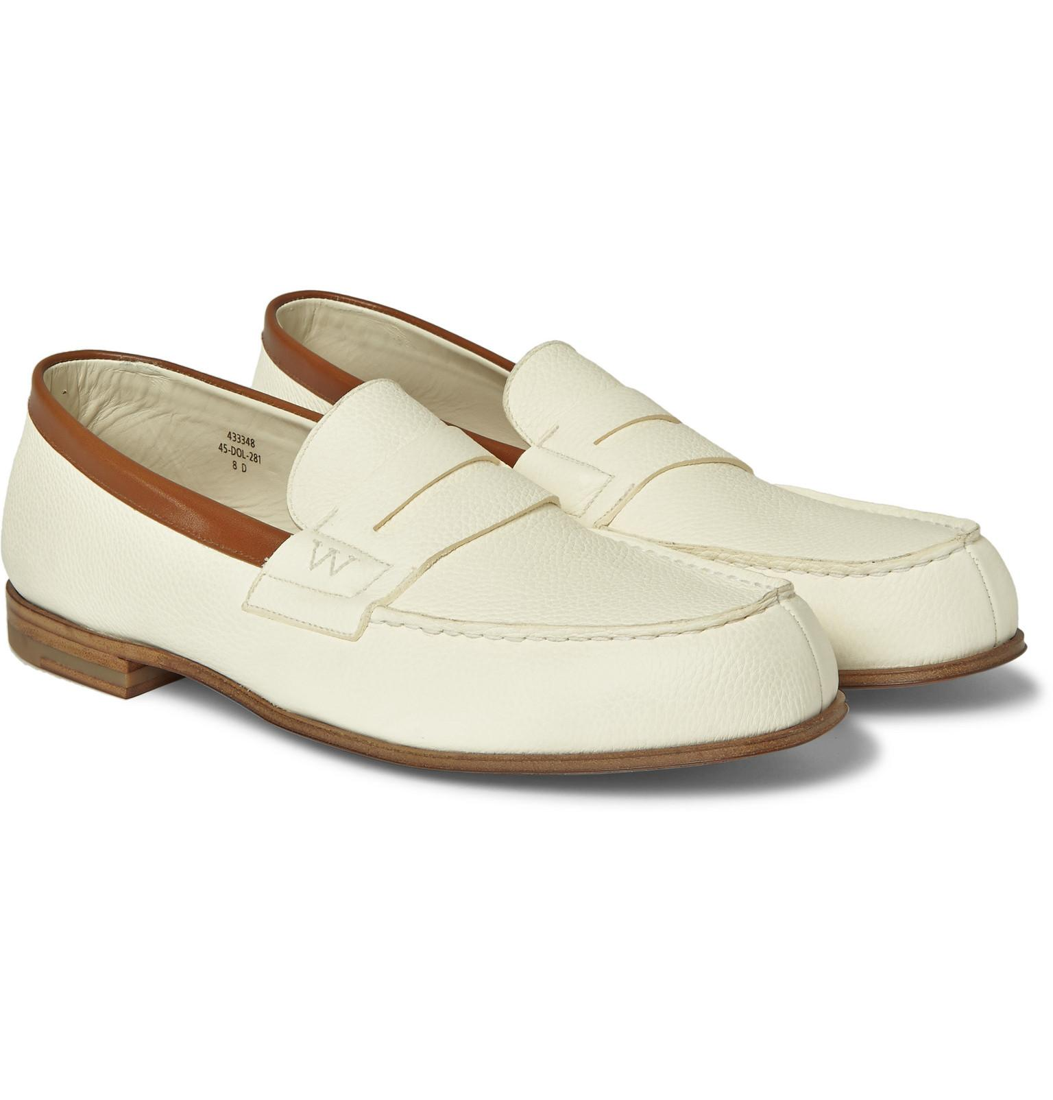 Le Meilleur J M Weston 281 Le Moc Textured Leather Loafers In White Ce Mois Ci