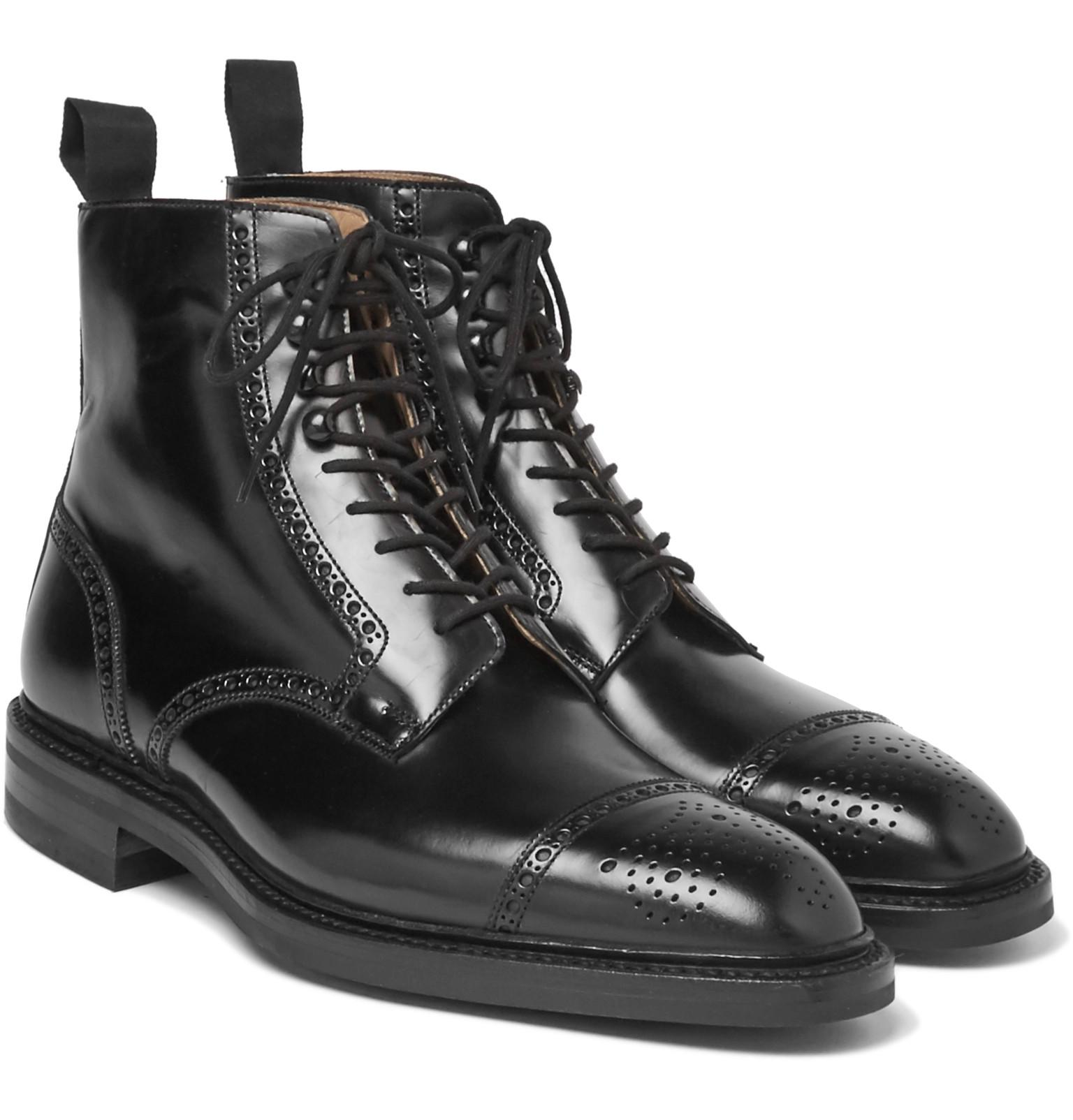 Le Meilleur George Cleverley Bryan Leather Brogue Boots In Black For Ce Mois Ci