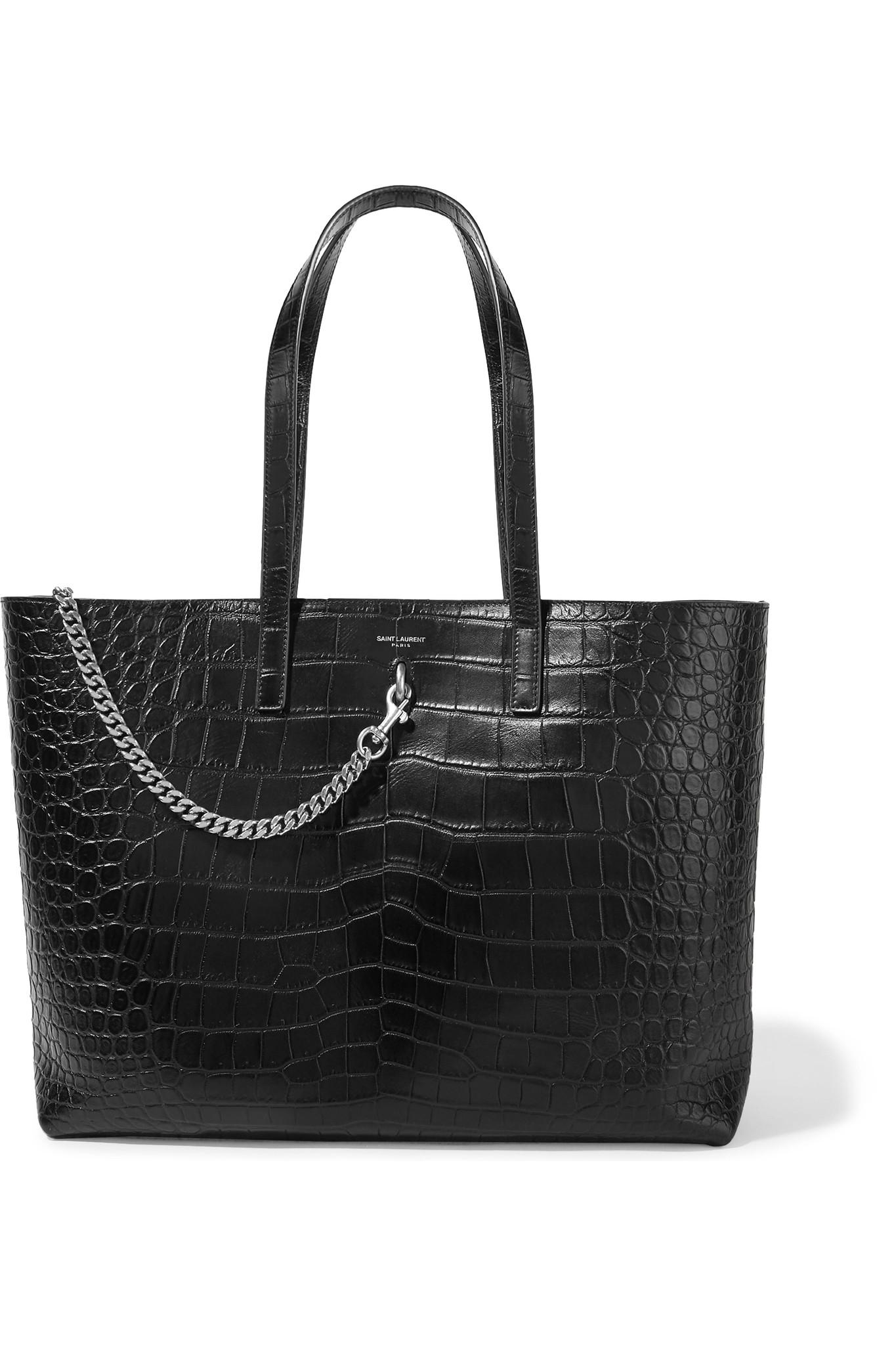 Le Meilleur Saint Laurent Shopping Large Croc Effect Leather Tote In Ce Mois Ci