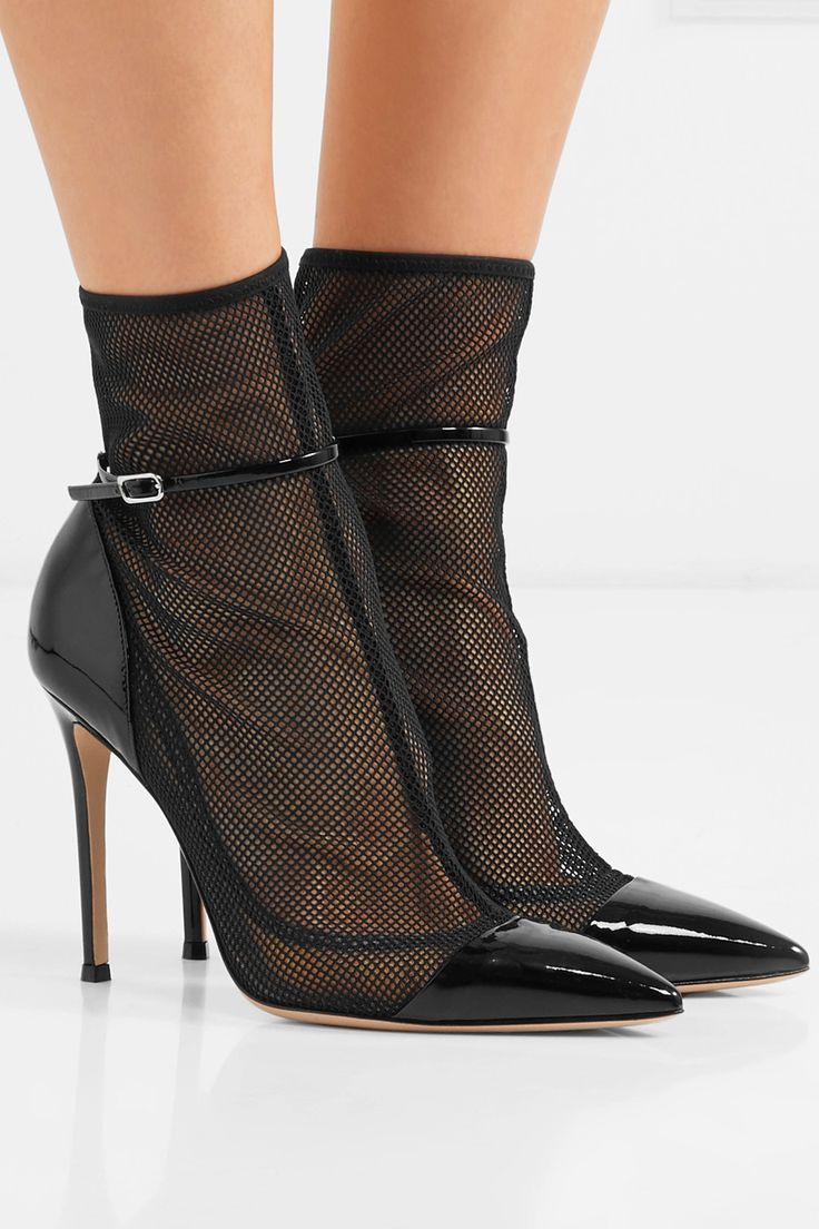Le Meilleur Gianvito Rossi Mesh And Patent Leather Ankle Boots Net Ce Mois Ci