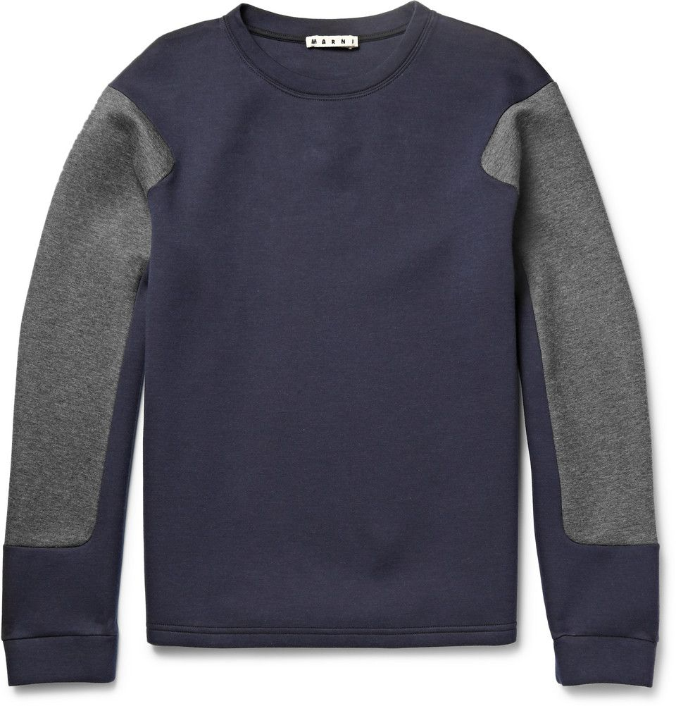 Le Meilleur Marni Two Tone Cotton Blend Jersey Sweatshirt Mr Ce Mois Ci