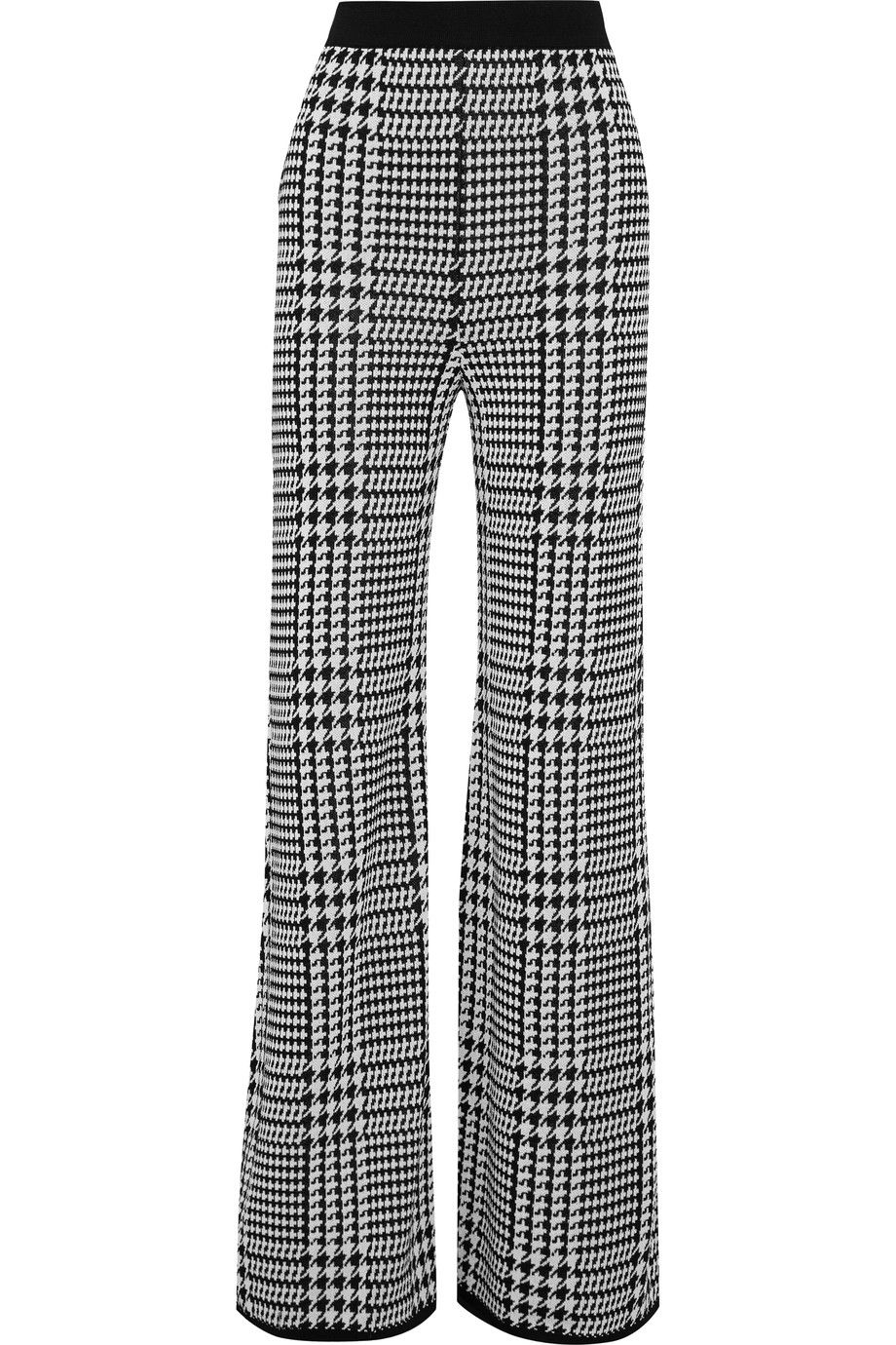 Le Meilleur Balmain Houndstooth Stretch Knit Wide Leg Pants To Buy Ce Mois Ci
