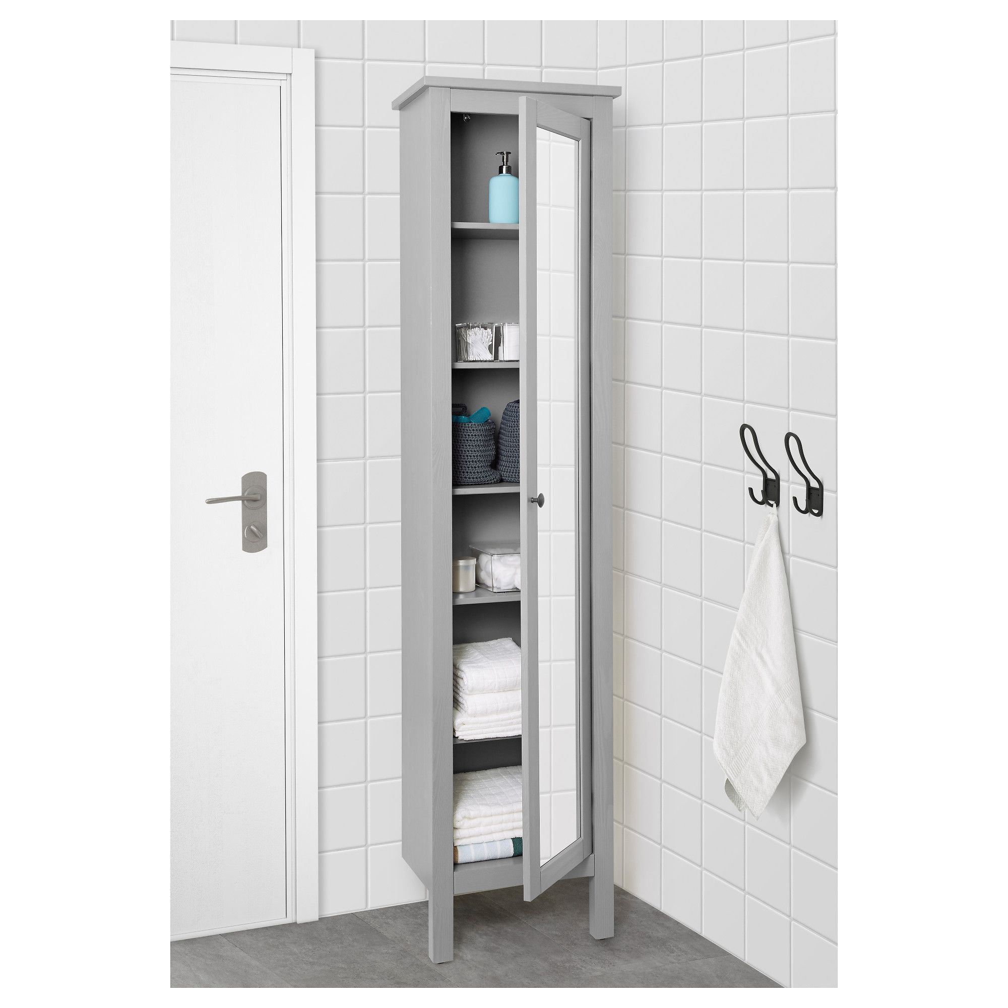 Le Meilleur Ikea Hemnes High Cabinet With Mirror Door Gray Ce Mois Ci