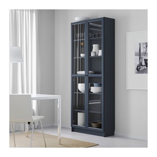 Le Meilleur Billy Bookcase With Glass Doors Dark Blue Home Ce Mois Ci