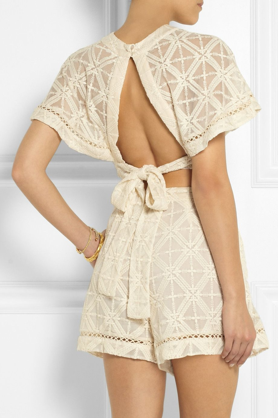 Le Meilleur Zimmermann Haze Cropped Embroidered Silk Georgette Top Ce Mois Ci