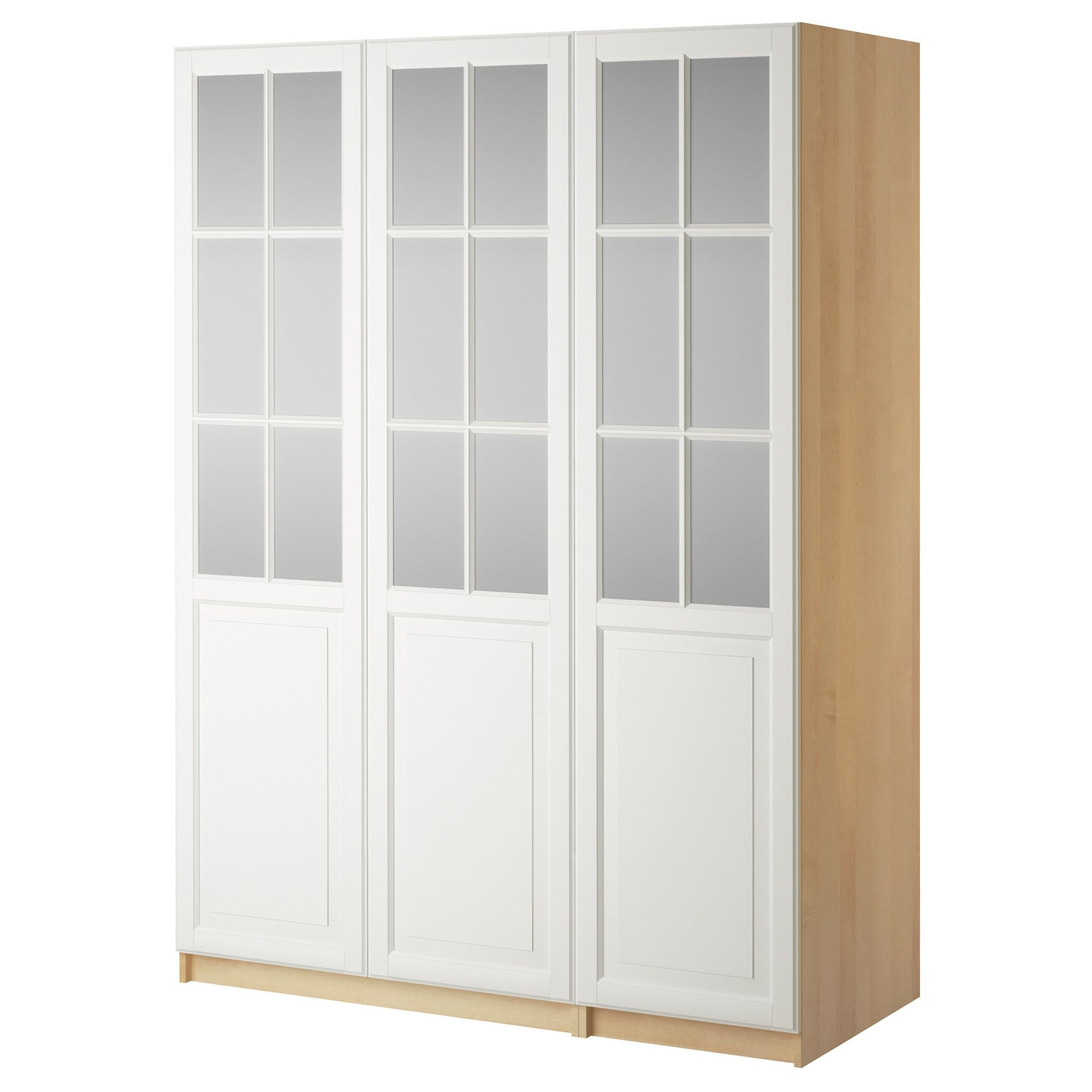 Le Meilleur Pax Wardrobe With 3 Doors Birkeland Frosted Glass White Ce Mois Ci