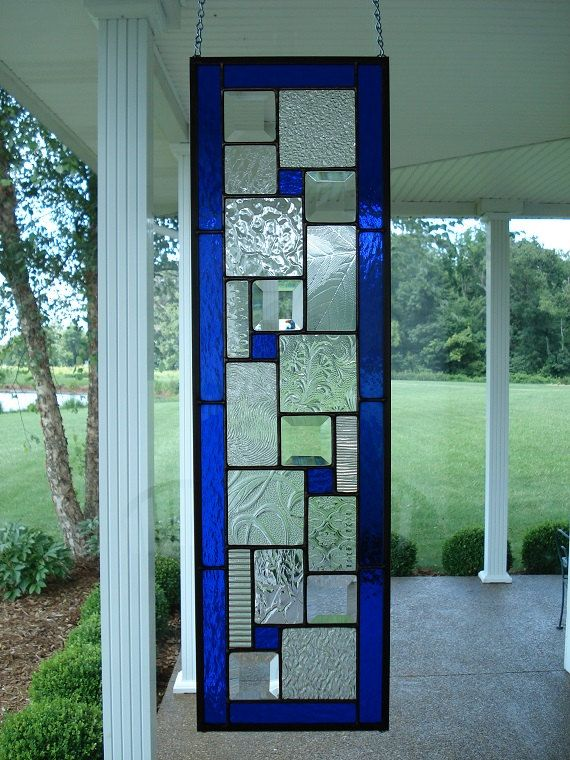 Le Meilleur Stained Glass Panel Deep Blue Window Transom Stained Ce Mois Ci