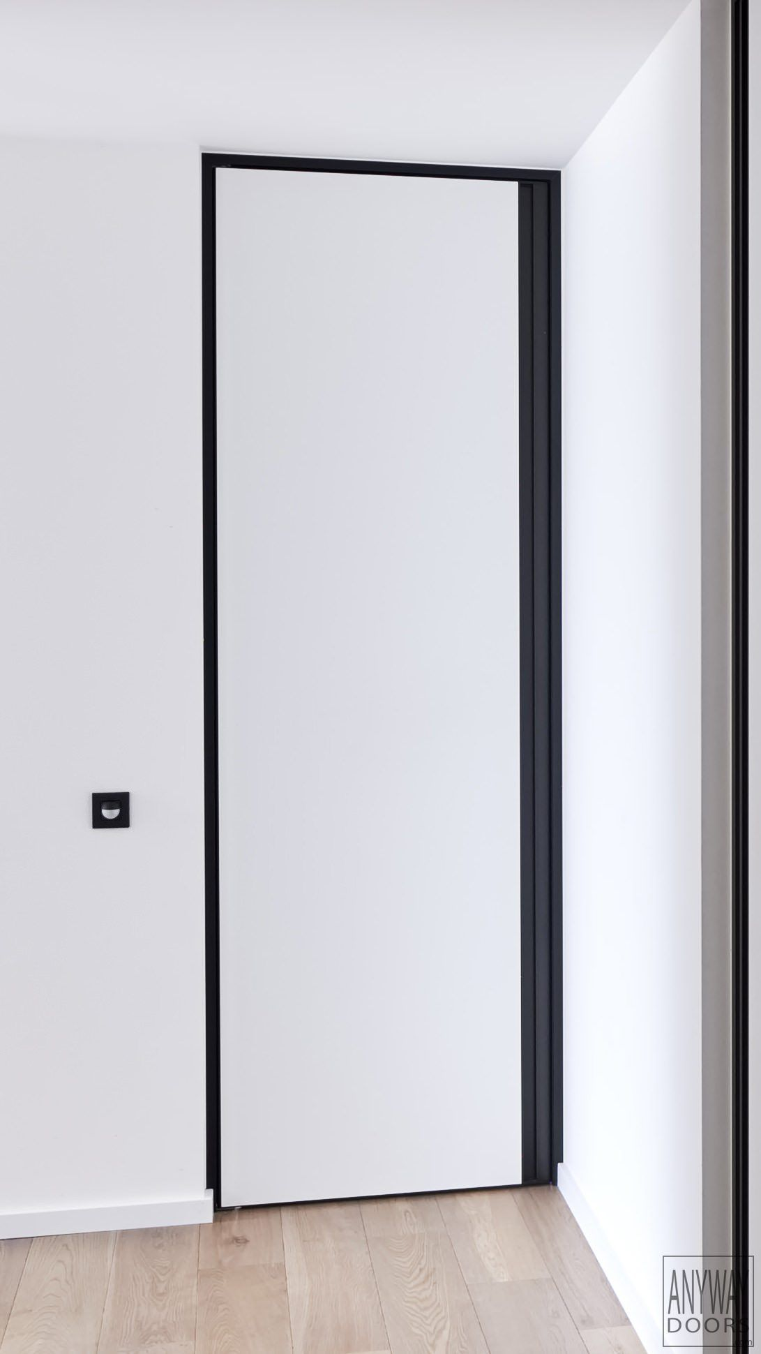 Le Meilleur White Interior Door With A Black Door Frame And Built In Ce Mois Ci