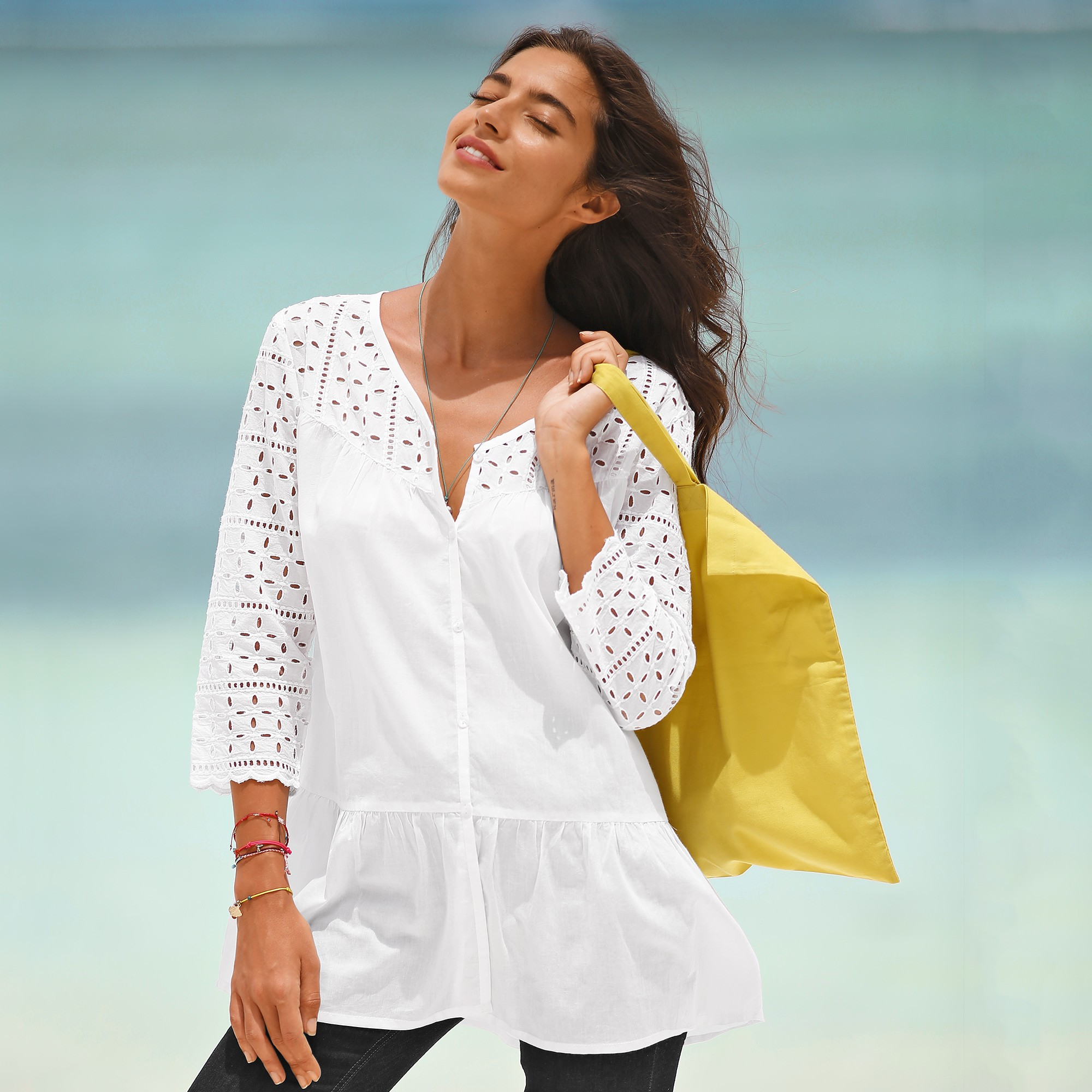 Le Meilleur Blouse Manches 3 4 Broderie Anglaise Blancheporte Ce Mois Ci