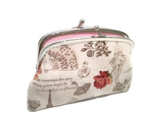 Le Meilleur French Vintage Style Large Linen Coin Purse With 2 By Ce Mois Ci