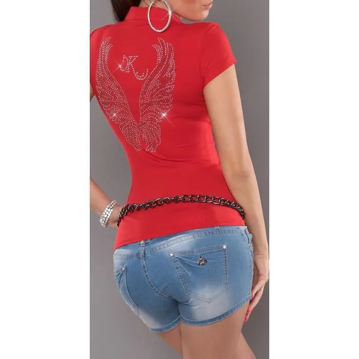 Le Meilleur T Shirt Polo Ailes D Ange Anges Strass Rouge Rouge Achat Ce Mois Ci