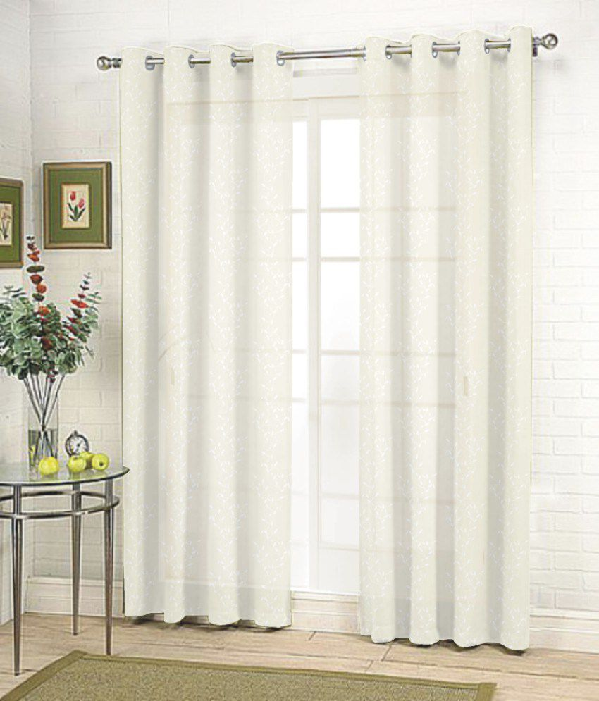 Le Meilleur Fabutex Single Door Sheer Curtains Curtain Floral White Ce Mois Ci