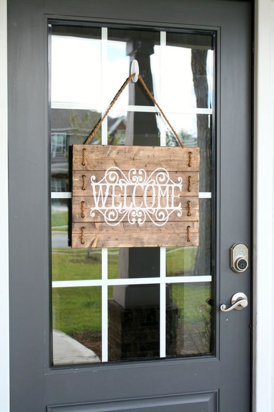 Le Meilleur Rustic Wood Rope Welcome Sign Custom Welcome By Ce Mois Ci