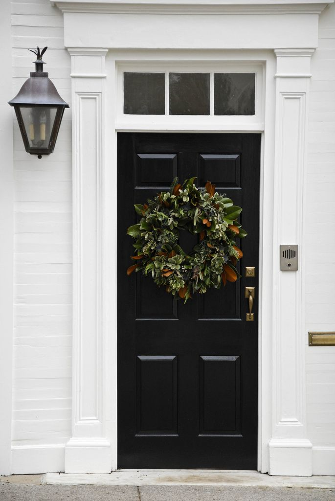 Le Meilleur Wreath Black Door White Trim Holiday Fun Pinterest Ce Mois Ci