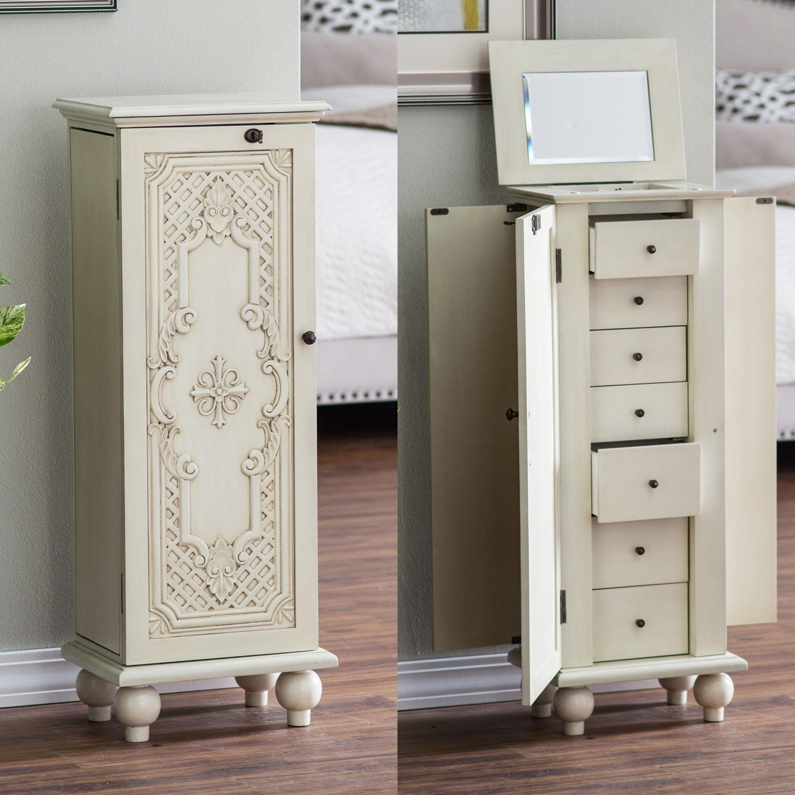 Le Meilleur Belham Living Locking Ornate Door Jewelry Armoire From Ce Mois Ci