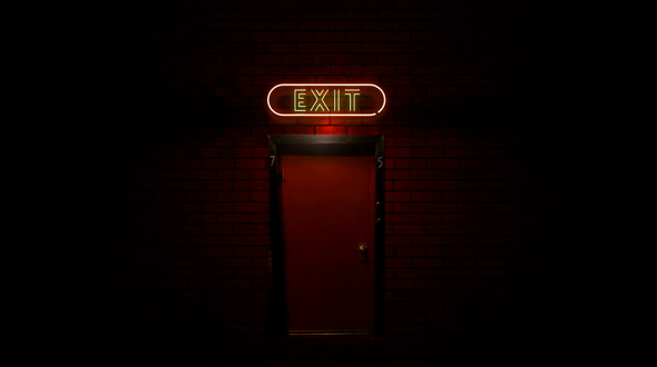 Le Meilleur Red Back Door With Exit Neon Light Sign Flickering By Ce Mois Ci
