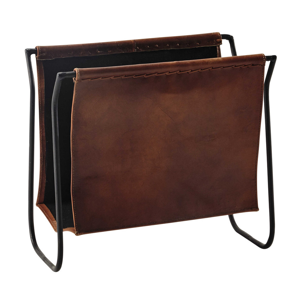 Le Meilleur Calvin Leather And Metal Magazine Rack In Brown Maisons Ce Mois Ci