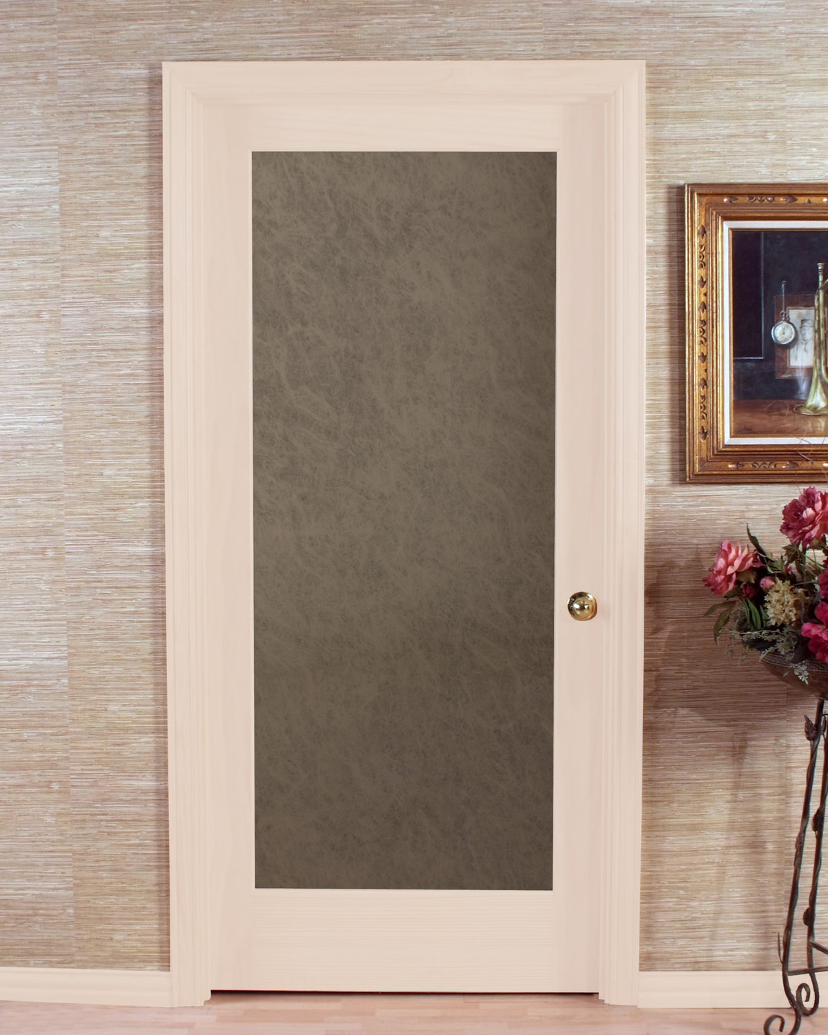 Le Meilleur Opaque Slab Passage Door With Stylish Frosted Glass Ce Mois Ci