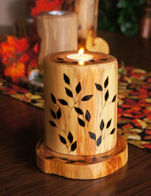 """Hand wood-burned """"boutique"""" candle"""