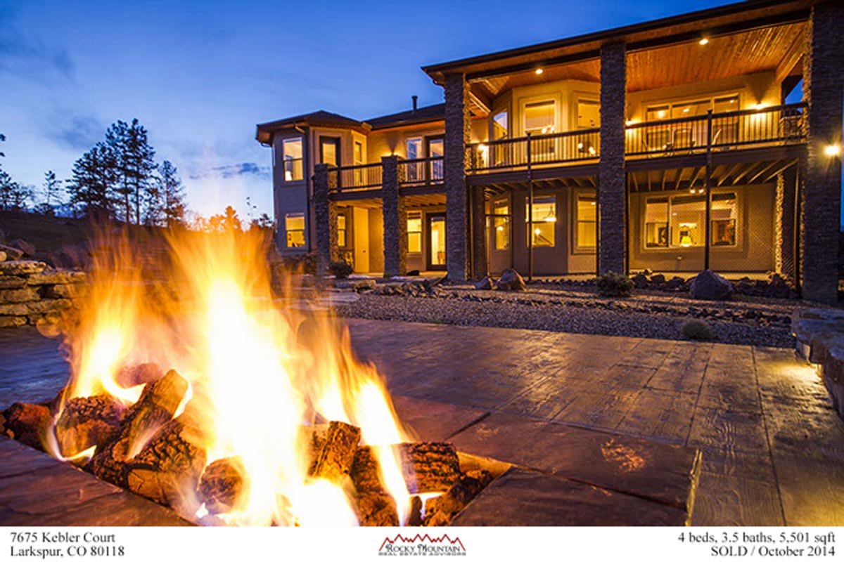 spectacular fire pit in this custom home in Larkspur Colorado