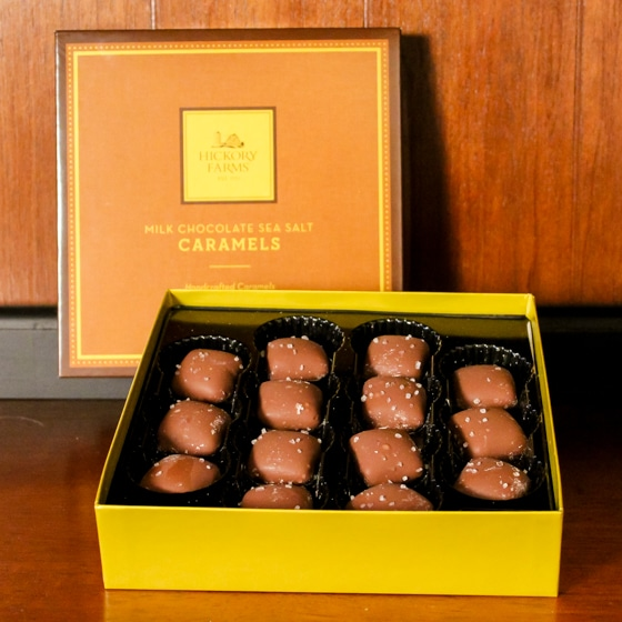 Salted caramels from Hickory Farms are the perfect hostess gift for any occasion.