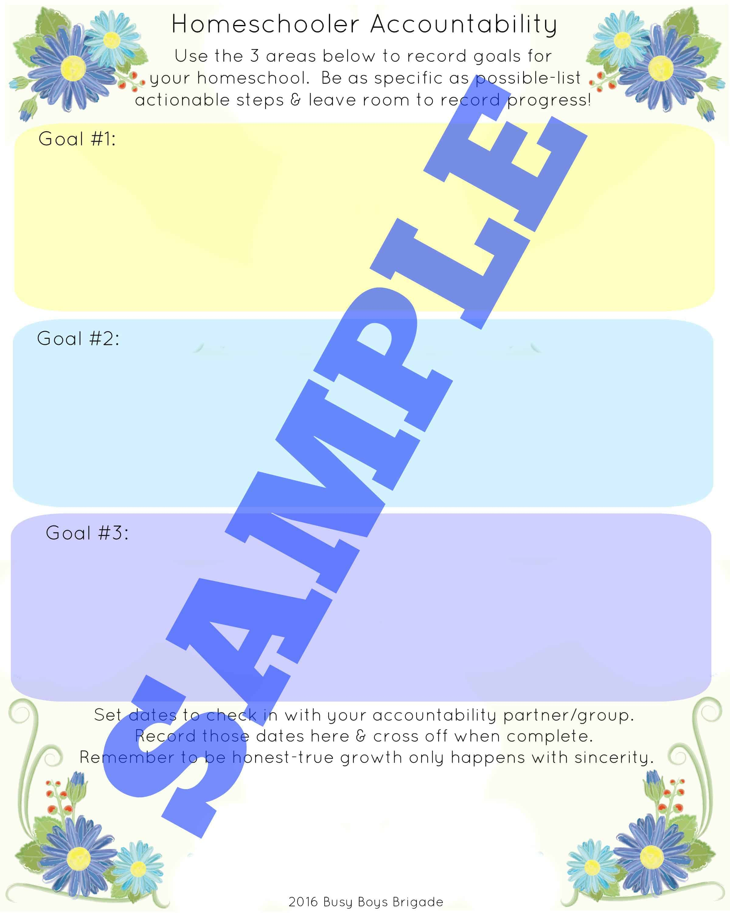 Homeschooler Accountability Worksheet