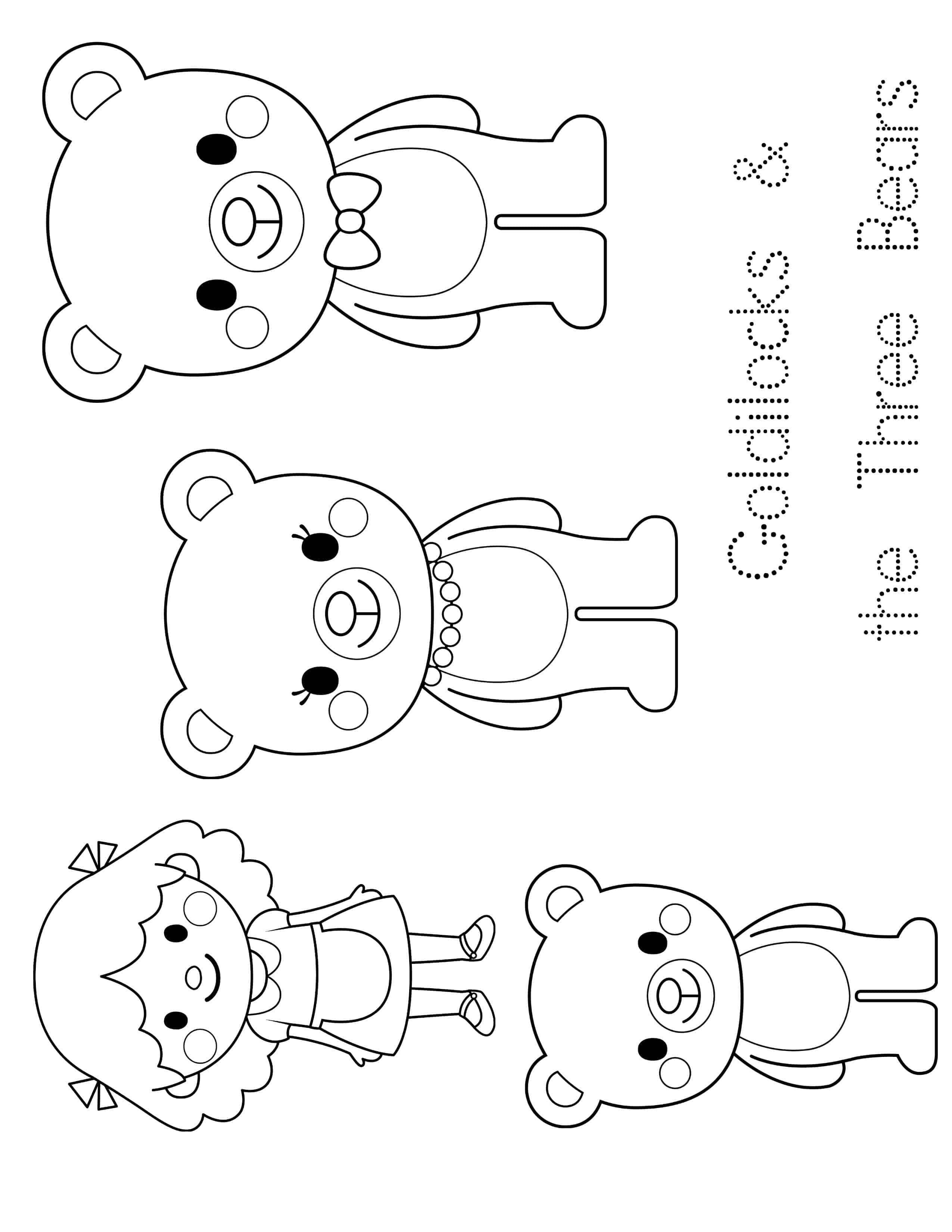 Goldilocks And The Three Bear Coloring Pages
