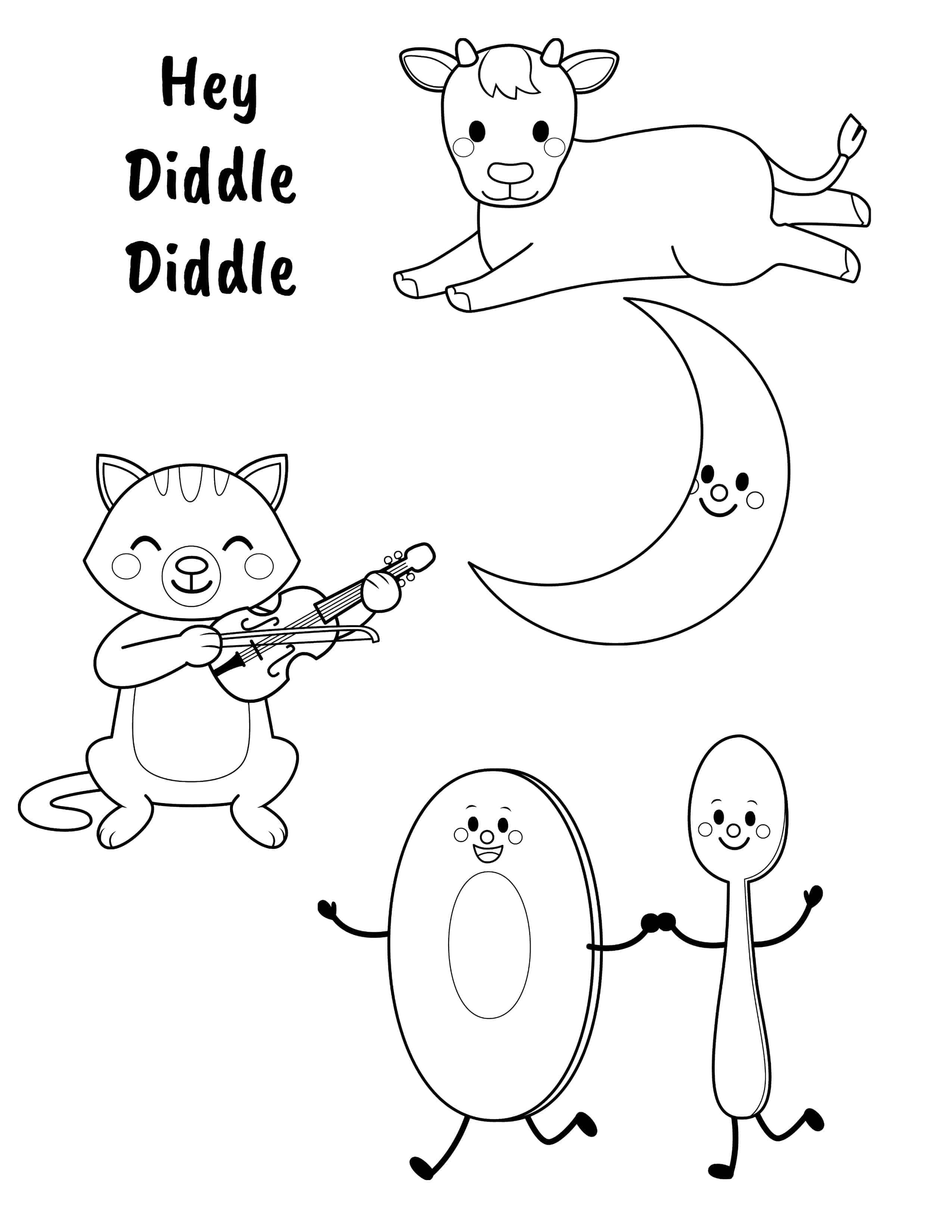 coloring sheet diddle diddle hey