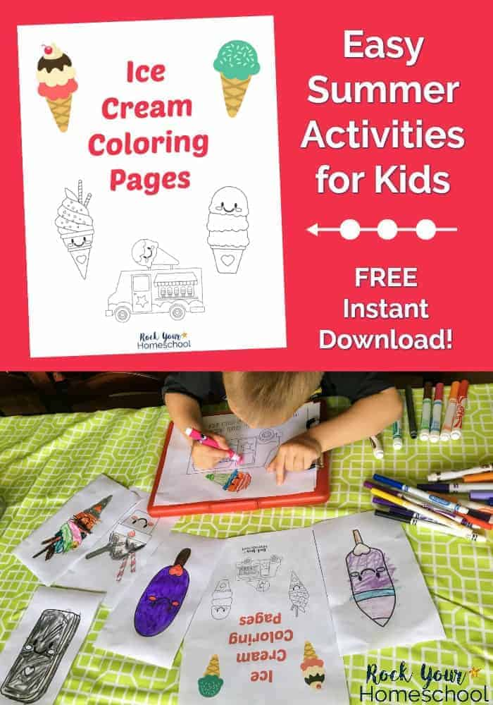 Young Boy Holding Up Coloring Page With Ice Cream Pages On Lime Green Tablecloth Need Some Easy Summer Activities