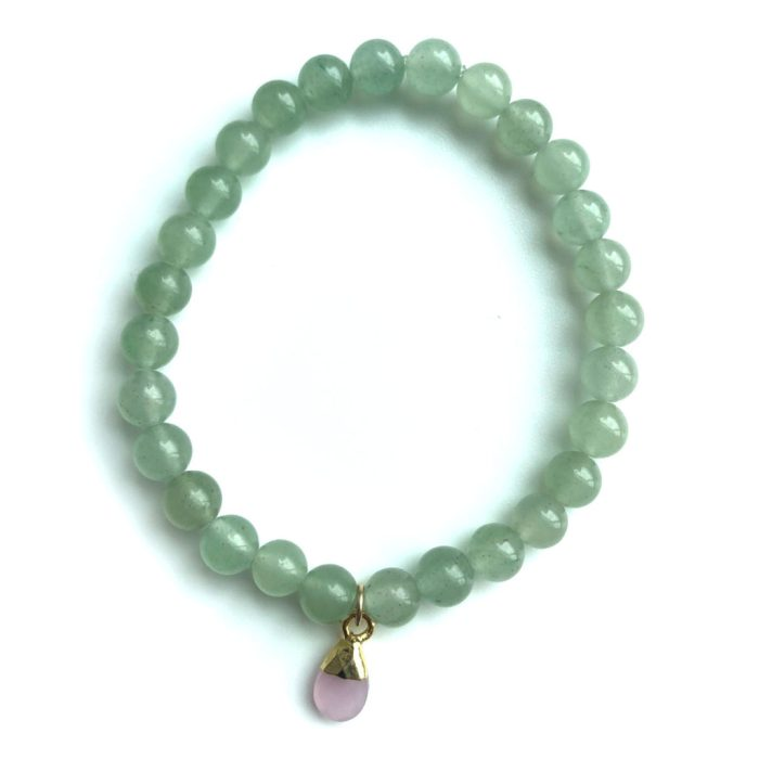 Green Aventurine with Rose Quartz