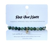 Green Moss Agate Beaded Bracelet Rock Your Worth