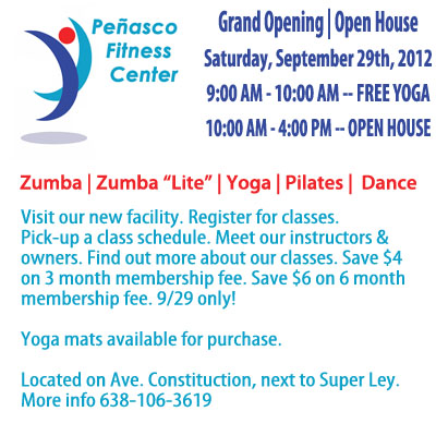 flyer Peñasco Fitness Center opening 9/29