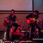 Johnny Hickman from Cracker performin acoustic with Roger Clyne at Wrecked at The Reef, in Rocky Point Mexico