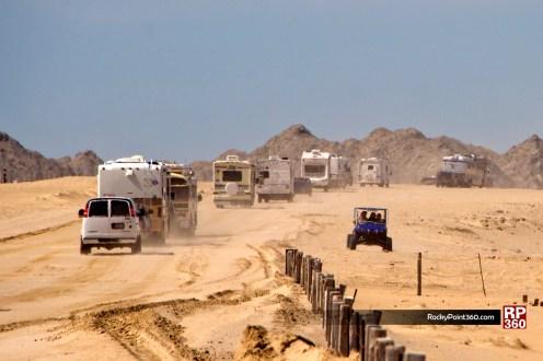 RV caravan heading to beach in Puerto Peñasco
