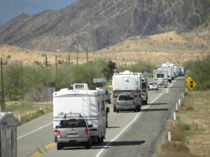 RV caravan travels to Puerto Penasco through Sonoyta, Mexico