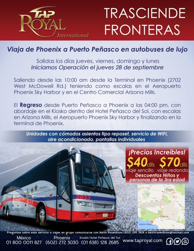 Volante-peñasco-español-2-927x1200 TAP Royal starts bus connection between Peñasco – Phoenix