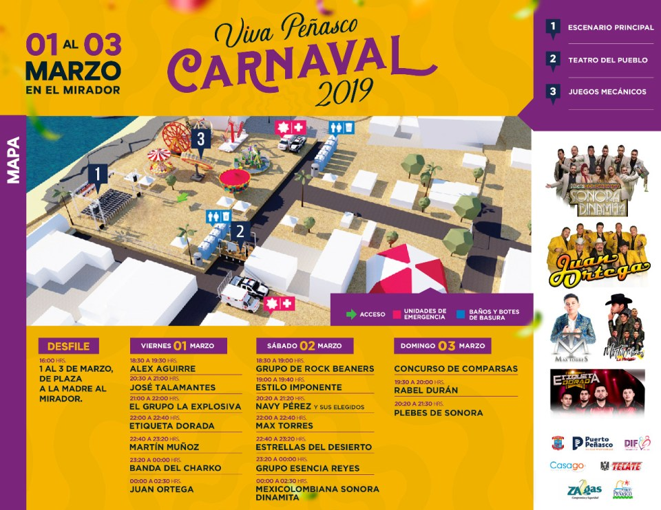 carnaval-map-march Viva Peñasco 2019 Carnaval