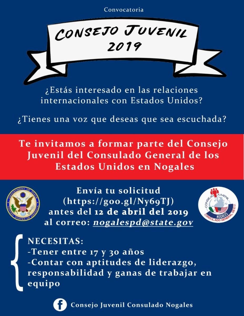 Convocatoria-Consejo-Juvenil-20191-927x1200 US Consulado en Nogales convoca a Consejo Juvenil 2019