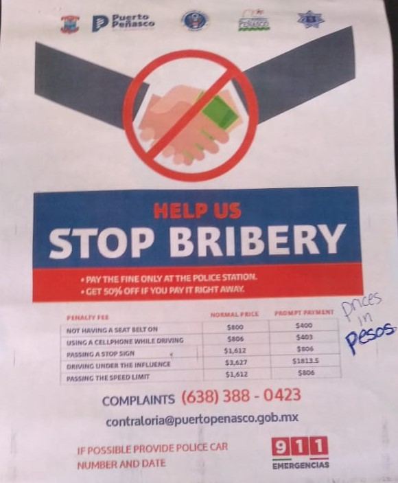 bribery-poster-english FAQs:  Road fines in Puerto Peñasco