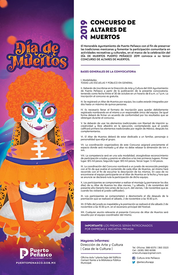 Concurso-de-Altares 2019 Day of the Dead Altar contest invite