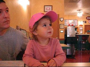 Maddie ordering chocolate milk.