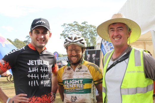"""Reigning Australian 24 H Solo National Champion, Jason English - here at his win at the JetBlack 24H at The Austrlian Botanic Garden, Mt Annan with Rocky Trail's Martin Wisata (left) and trail """"godfather"""", Horticultural Manager of the gardens, Dan Bishop. Photo: Rocky Trail"""