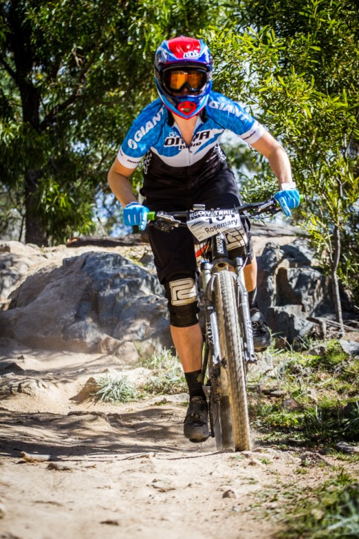 Rosemary Barnes secured herself the first Australian Gravity Enduro National Elite Women's titel at Stromlo Forest Park. Photo: Jaime Black / JB Photomedia