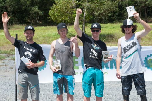 Elite Men's series podium (l-r): Ben Randall (4th), Simon Buzacott (2nd), Dan MacMunn (1st), Ryan De La Rue (3rd) - absent: Ben Cory (5th).