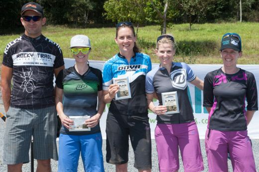 Elite Women's series podium (l-r): Martin Wisata (Rocky Trail), Genevieve McKew (3rd), Rosemary Barnes (1st), Vanessa Thompson (2nd), Kath Bicknell (5th) - absent: Jaclyn Schapel (4th).