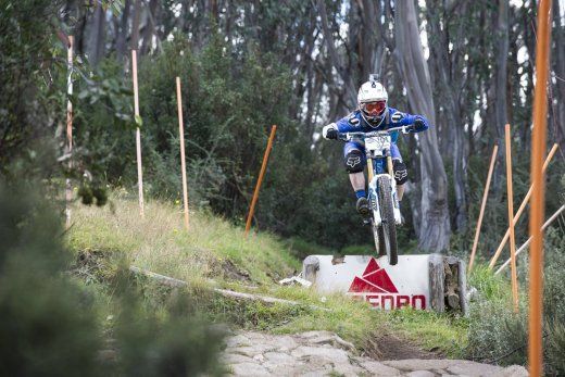 Sarah Booth in full flight on the Thredbo Downhill track.