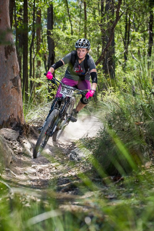 Current elite women's series leader Vanessa Thompson racing and hydrating with Camelbak. Photo: OuterImage.com.au